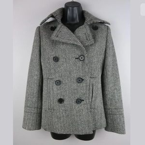 J Crew Factory Peacoat SZ XS Wool Double Breasted